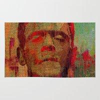 frankenstein Area & Throw Rugs featuring frankenstein by Joe Ganech