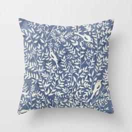 Wonderlust blue#Birds let's run away Throw Pillow