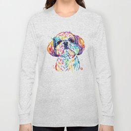 Shih Tzu / Shihtzu Watercolor Pet Portrait Painting By Lisa Whitehouse Long Sleeve T-shirt