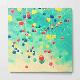Let your wishes fly (Colour balloons in vintage - retro turquoise sky) Metal Print