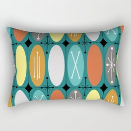 Atomic Era Ovals In Rows Teal Colorful Rectangular Pillow