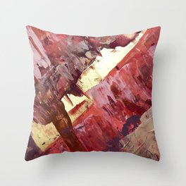 Desert Sun: A bright, bold, colorful abstract piece in warm gold, red, yellow, purple and blue Throw Pillow