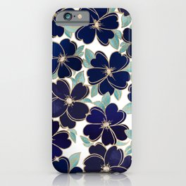 Stylish elegant navy blue gold foil watercolor floral  iPhone Case