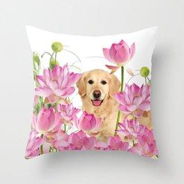 Labrador Retrievers with Lotos Flower Throw Pillow