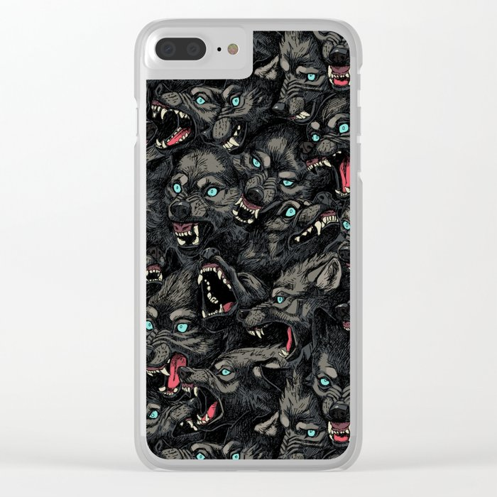 Wolf Pack Pattern Clear iPhone Case
