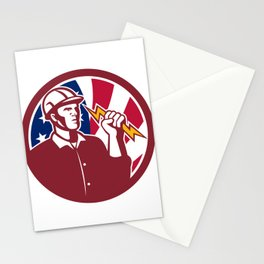 American Lineman USA Flag Icon Stationery Cards