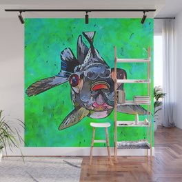 Cartoon Style Blackmoor Goldfish With Gaping Mouth Wall Mural