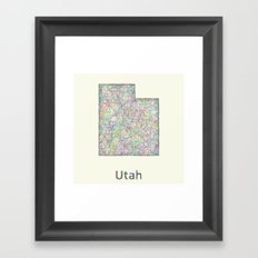 Utah map Framed Art Print