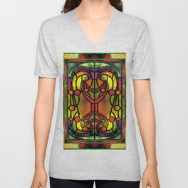 Yellow Red and Green Art Nouveau Stained Glass Unisex V-Neck