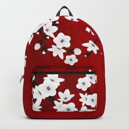 Red Black And White Cherry Blossoms Backpack