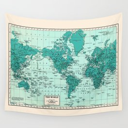 World Map in Teal Wall Tapestry