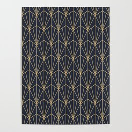 Art Deco Vector in Blue and Gold Poster