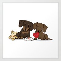 daschund Art Prints featuring Valentine's Day Love Daschund Illustration by Li Kim Goh
