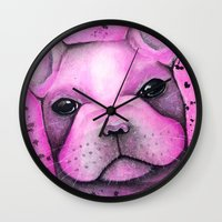 frenchie Wall Clocks featuring Frenchie  by ClarissaLynnArt