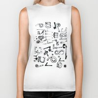 typo Biker Tanks featuring TYPO CHAOS by Michela Buttignol