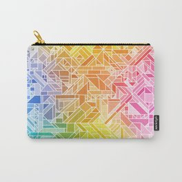 Bright Gradient (Hot Pink Orange Green Yellow Blue) Geometric Pattern Print Carry-All Pouch