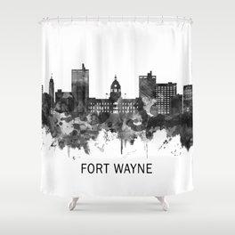 Fort Wayne Indiana Skyline BW Shower Curtain