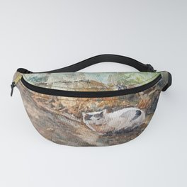 Meow meow heart sun, cat watercolor painting Fanny Pack