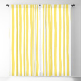 Yellow and White Cabana Stripes Palm Beach Preppy Blackout Curtain