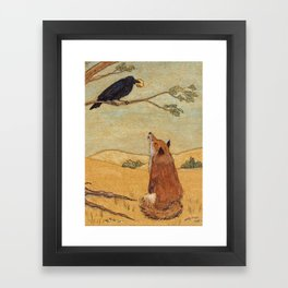 Fox and Crow, Aesop's Fable Illustration in the style of Arthur Rackham and Howard Pyle Framed Art Print