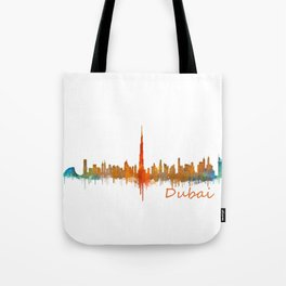 Dubai, emirates, City Cityscape Skyline watercolor art v2 Tote Bag