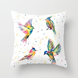Four Colorful Birds Throw Pillow