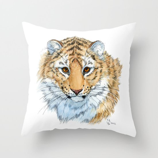 Young Sweet Tiger Throw Pillow