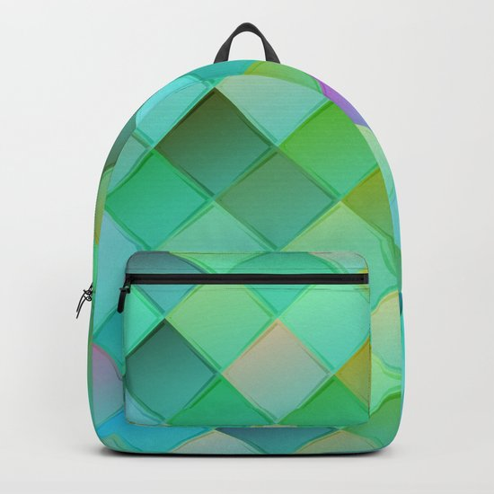 Green pattern with squares.Trendy print. Modern graphic design. Backpack