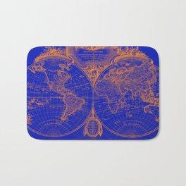 World Map (1775) Blue & Orange Bath Mat