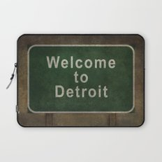 Welcome to Detroit highway road side sign Laptop Sleeve
