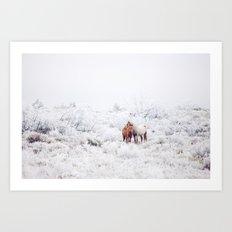 Two Winter Horses Art Print