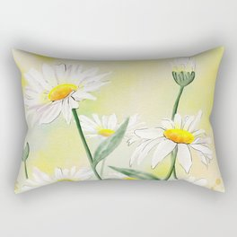 White Daisies Season Rectangular Pillow