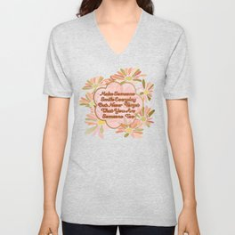 Make Someone Smile-with Daisies in Rose and Gold Unisex V-Neck