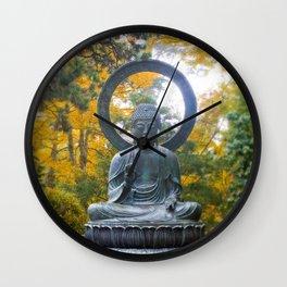 Buddha Meditating, San Francisco Photograph, Japanese Tea Gardens San Francisco, Meditation, Yoga Wall Clock