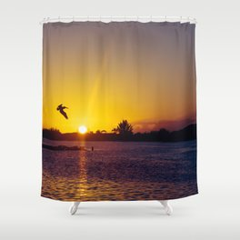 Tropical Pelican Sunset Shower Curtain