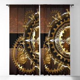 Steampunk Clock with Gears Blackout Curtain