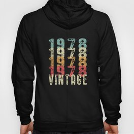 40th Birthday Gift graphic Vintage Distressed 1978 print Hoody