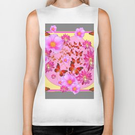 Monarch Butterfly Floral Cream-grey  Abstract Biker Tank