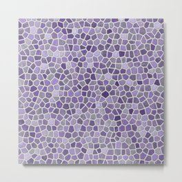 Faux Stone Mosaic in Lavender Metal Print