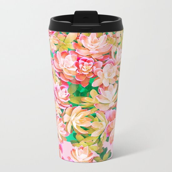 Cactus Fall - Pink and Green Metal Travel Mug