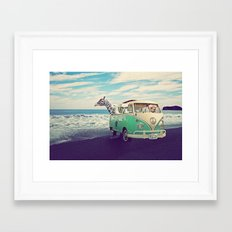 NEVER STOP EXPLORING THE BEACH Framed Art Print