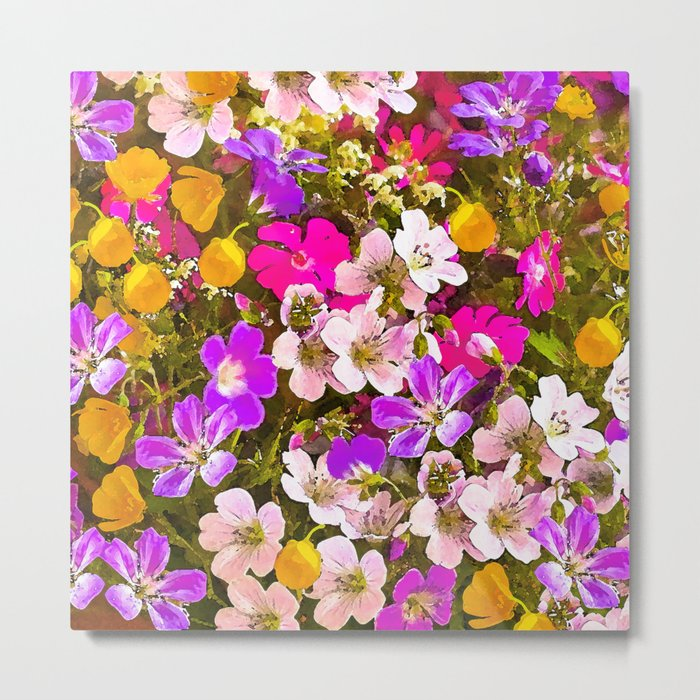 Colorful meadow flowers #Society6 #buyart Metal Print