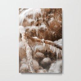 Frozen Harp Falls - Sepia Nostalgia Metal Print