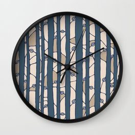 Into The Woods blue cream Wall Clock