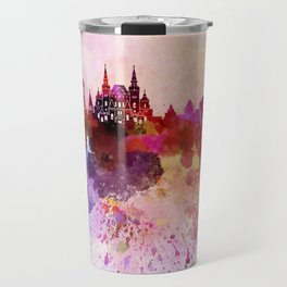 Moscow skyline in watercolor background Travel Mug
