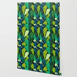 Watercolor Macrame Feather Toss in Black + Green Wallpaper