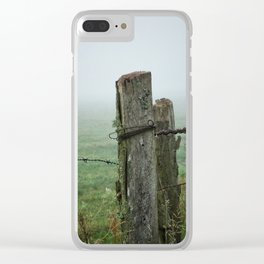Fence post and fog Clear iPhone Case