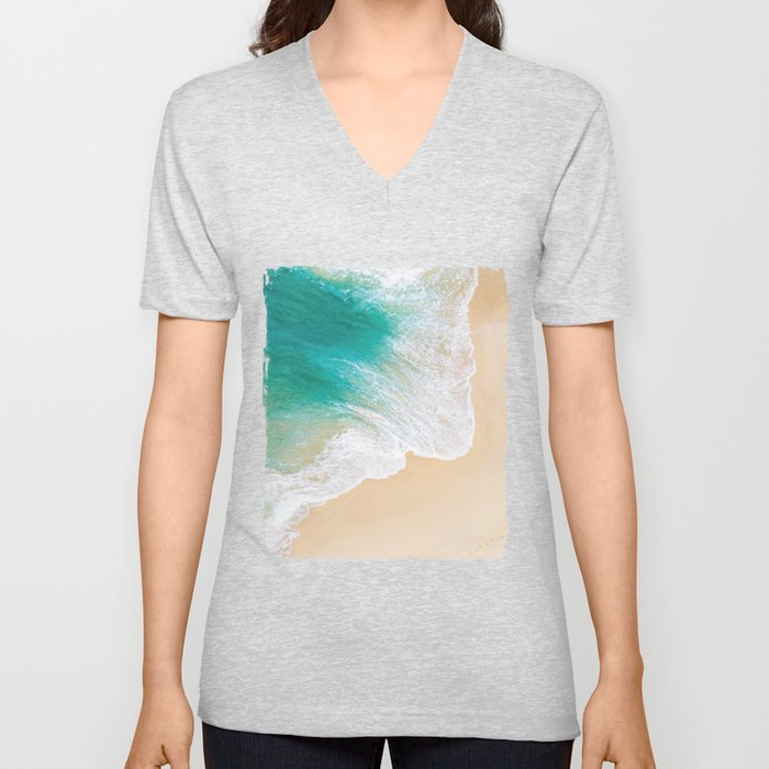 Sand Beach - Waves - Drone View Photography Unisex V-Neck