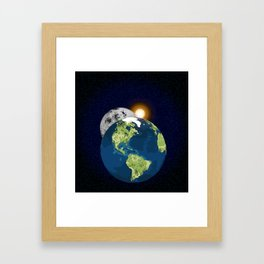 Earth Moon and Sun Framed Art Print