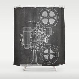 Film Projector Patent - Cinema Art - Black Chalkboard Shower Curtain